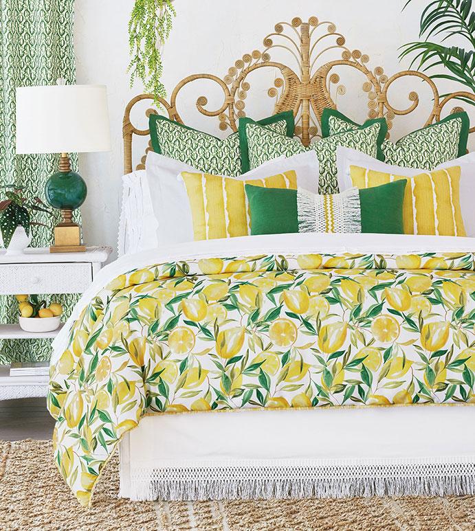 Meyer - ,lemon print,citrus print,meyer lemon,celerie kemble,lemon bedding,lemon decor,citrus decor,yellow bedding,summer bedding,designer bedding,lemon duvet,yellow curtains,fringe bedskirt,