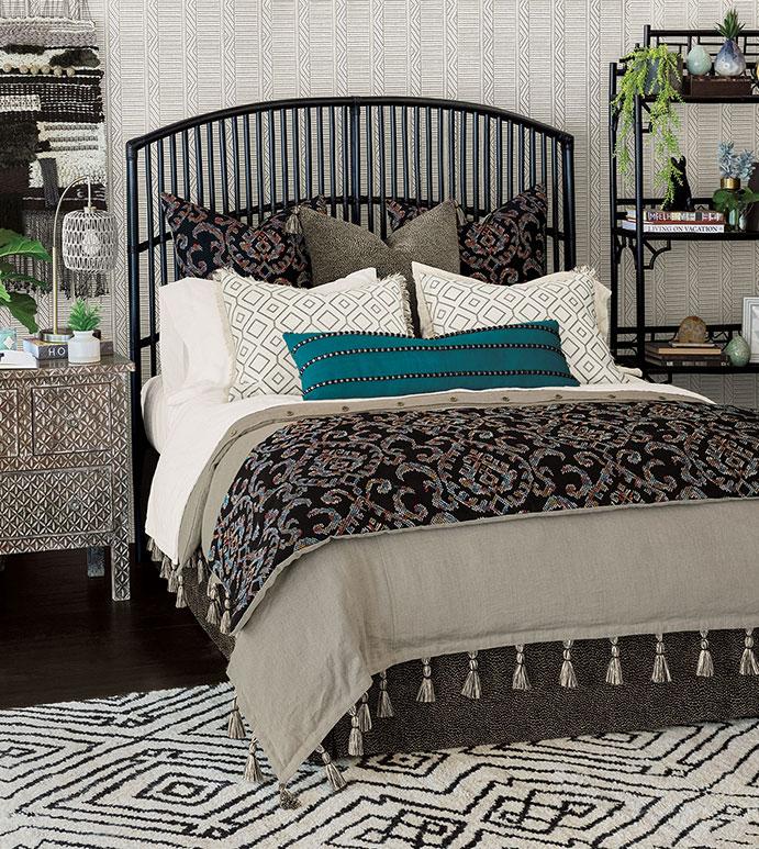 Freya - ,boho bedding,luxury boho decor,linen duvet cover,tassel duvet cover,bohemian bedding,ikat bedding,eclectic bedding,boho bedroom,teal bedding,dark bedding,taupe linen,taupe bedding,