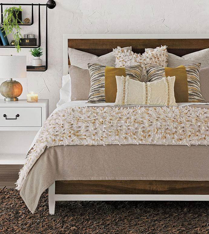 Jinora - ,global bedding,global interior,chenille nedding,fringe bedding,exotic bedding,faux fur bedding,feather duvet,flannel pillow,flannel duvet,tan bedding,custom bedding,brown bedding,