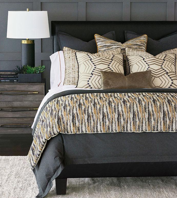 Ouray - ,tan and black bedding,dark bedding,unisex bedding,masculine bedding,flannel bedding,chenille bedding,leather pillow,flannel pillow,tan bedding,global bedding,