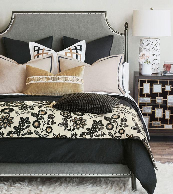 Raya - ,black bedding,dark bedding,dark romantic bedding,black and gold bedding,linen bedding,black linen bedding,embroidered bedding,gold decorative pillows,gold bedding,glam bedding,alexa hampton,