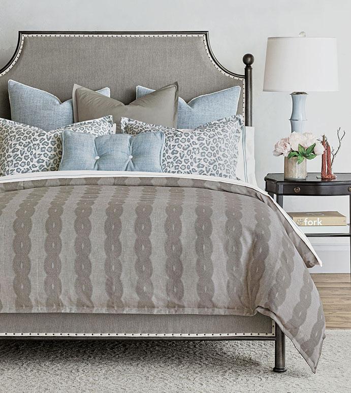 Elya - ,light blue bedding,taupe bedding,blue and gray bedding,traditional bedding,traditional interiors,pastel animal print,blue animal print,baby blue bedding,light blue pillows,knit duvet cover,