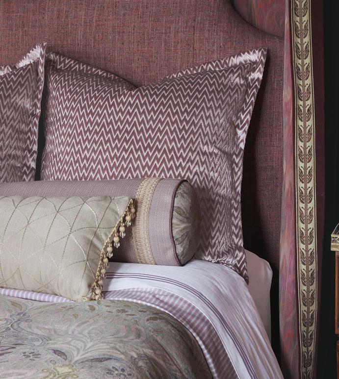 Evie Bedset - ,mauve bedset,refined traditional bedset,velvet chevron,damask bedding,damask pillow,chevron pillow,mauve bedding,mauve velvet,alexa hampton bedding,ticking stripe,