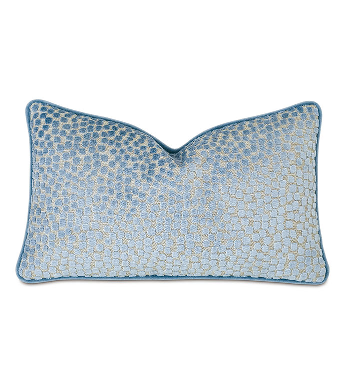 Baynes Cut Velvet Decorative Pillow - BLUE,PILLOW,DECORATIVE PILLOW,THROW PILLOW,ACCENT PILLOW,LUXURY,DESIGNER,ALEXA HAMPTON,13X22,VELVET,TEXTURED,DOTTED,POLKA-DOTTED,SPECKLED,BLUE THROW PILLOW,BLUE DOTTED THROW PILLOW