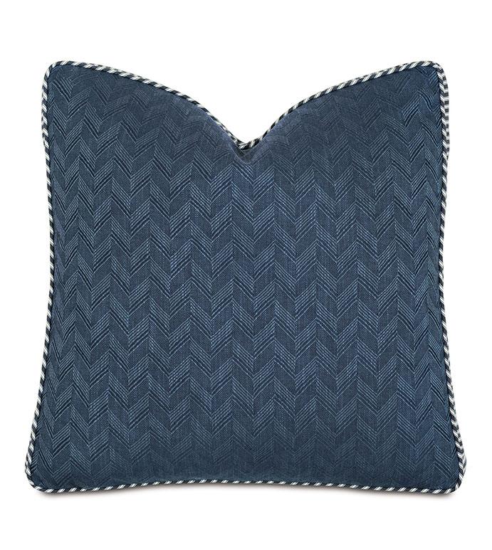 Claire Boxed Decorative Pillow - ,boxed pillow,large pillow,chevron pillow,blue pillow,ticking stripe,striped pillow,alexa hampton,gusset pillow,designer pillow, square pillow,navy pillow,