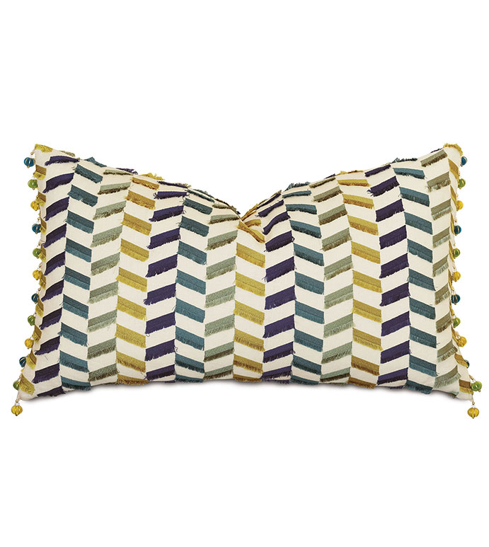 Claire Ball Trim Decorative Pillow - ,15x26 pillow,linen pillow,rectangle pillow,chevron,chevron pillow,bolster pillow,ball trim,citron pillow,alexa hampton,embroidered pillow,luxury pillow,designer pillow,