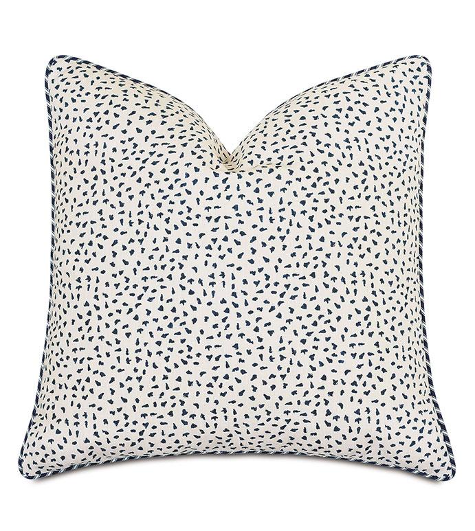 Claire Speckled Decorative Pillow - ,22x22 pillow,100% cotton pillow,navy pillow,blue pillow,speckled print,ticking stripe,striped pillow,nautical pillow,alexa hampton,nautical decor,designer pillow,