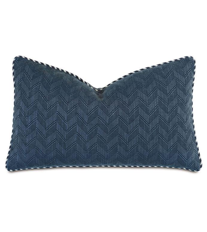 Claire Chevron Decorative Pillow - ,13x22 pillow,rectangle pillow,chevron pillow,blue pillow,navy pillow,alexa hampton,nautical pillow,coastal decor,designer pillow,navy bedding,blue bedding,navy bolster,