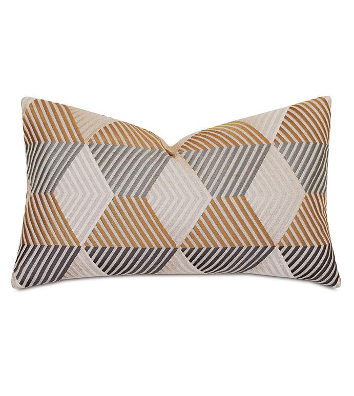 Lars Zig Zag Decorative Pillow - ,13x22 pillow,chevron pillow,metallic pillow,mid century pillow,luxury pillow,gold pillow,alexa hampton,mid century bedding,embroidered pillow,mid century embroidery,