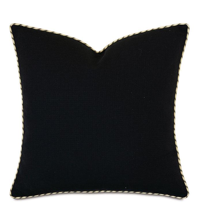 Lars Striped Welt Decorative Pillow - ,20x20 pillow,black pillow,black bedding,black and gold pillow,luxury pillow,alexa hampton,designer bedding,black bedding,dark bedding,luxury bedding,designer pillow