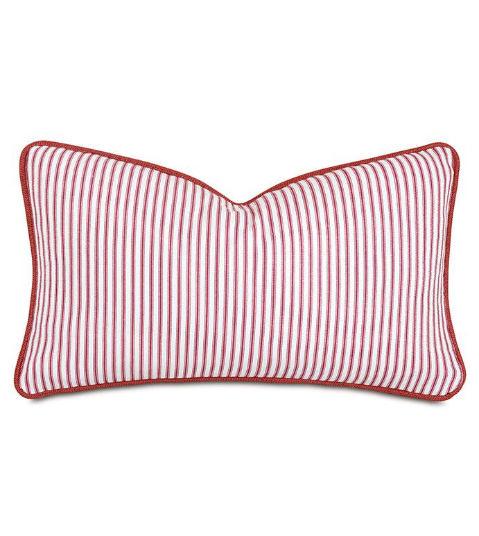 Percival Striped Decorative Pillow - ,RECTANGLE PILLOW,100% COTTON,TICKING STRIPE,RED STRIPE,RED TICKING STRIPE,STRIPED PILLOW,COTTON PILLOW,RED PILLOW,DECORATIVE PILLOW,COTTON THROW PILLOW,STRIPED THROW PILLOW,