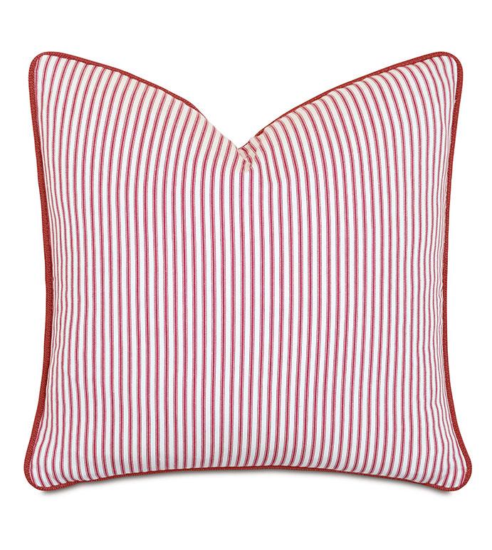 Percival Striped Decorative Pillow - ,22X22 PILLOW,SQUARE PILLOW,100% COTTON,TICKING STRIPE,RED STRIPE,RED TICKING STRIPE,STRIPED PILLOW,COTTON PILLOW,RED PILLOW,COTTON THROW PILLOW,STRIPED THROW PILLOW,