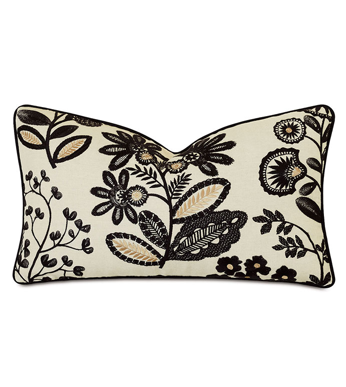 Lars Embroidered Decorative Pillow - ,13x22 pillow,floral embroidery,floral pillow,gold pillow,dark floral,ticking stripe,embroidered pillow,botanical embroidery,alexa hampton,designer pillow,