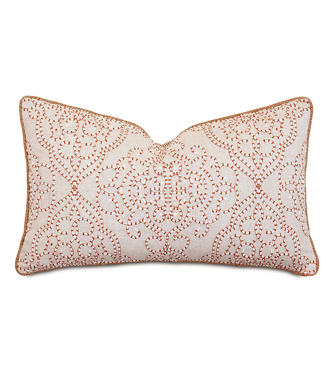Marguerite Damask Embroidery Decorative Pillow - ,rectangle pillow,embroidered pillow,embroidery,peppermint embroidery,red embroidery,damask pillow,damask embroidery,embroidered throw pillow,
