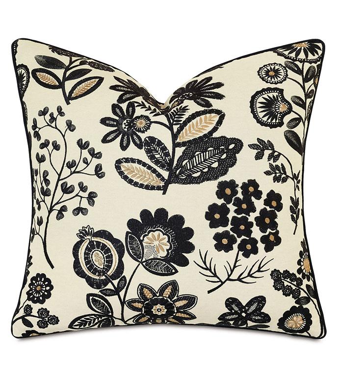 Lars Embroidered Petite Euro Sham - ,25x25 pillow,petite euro sham,floral euro sham,gold euro sham,floral embroidery,black embroidery,luxury euro sham,alexa hampton,designer euro sham,ticking stripe,luxury bedding,
