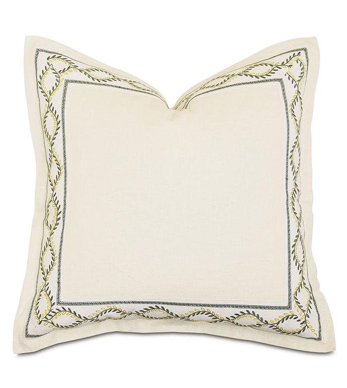 Marguerite Decorative Border Euro Sham - ,euro sham pillow,square pillow,27x27 pillow,white throw pillow,white pillow,decorative border,botanical embroidery,floral embroidery,mitered border,