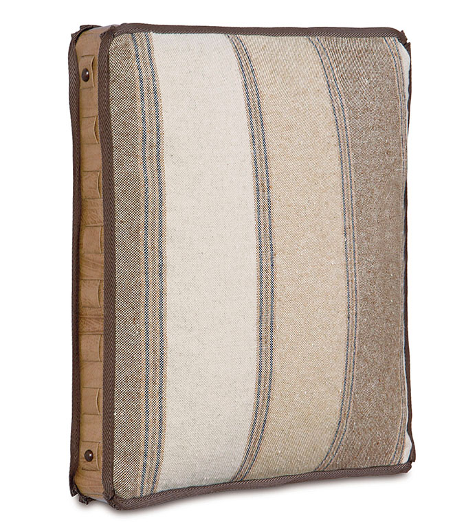 Aiden Boxed Decorative Pillow - BOXED DECORATIVE PILLOW,LODGE PILLOW,RUSTIC PILLOW,SADDLE LEATHER PILLOW,STRIPED,GREY,IVORY,TAN,NAILHEAD PILLOW,FRINGE,NAILHEADS,VERTICAL STRIPED,LODGE BED PILLOW,LODGE HOME