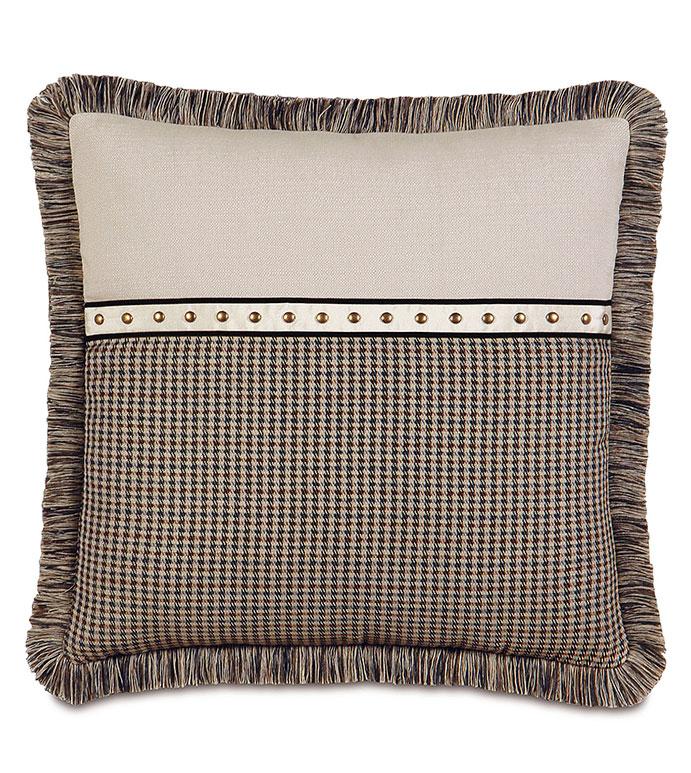 Aiden Nailhead Decorative Pillow - NAILHEAD PILLOW,COUNTRY PILLOW,LODGE PILLOW,MOUNTAIN HOME,PILLOW WITH FRINGE,CHECKERED,PLAID,TAN PLAID,NAILHEAD BORDER,NAILHEAD,ANTIQUE BRASS,NAILHEAD ACCENT,SQUARE PILLOW,FRINGE