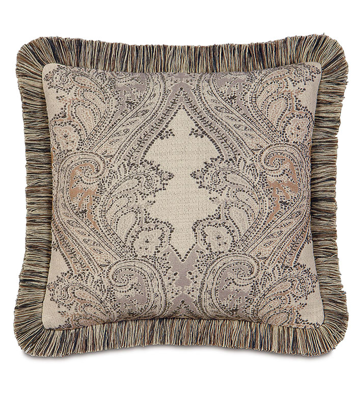 Aiden Damask Decorative Pillow - TAN PAISLEY PILLOW,LODGE PILLOW,RUSTIC PILLOW,COUNTRY,MOUNTAIN,LODGE HOME,CLASSIC,TRADITIONAL,FRINGE,TAN,BROWN,IVORY,PAISLEY,NEUTRAL,SOUTHWEST,NORTHWEST,LARGE PAISLEY,RANCH HOME