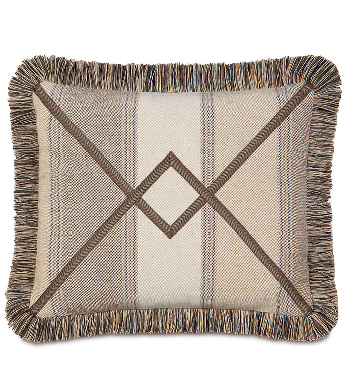 Aiden Chevron Decorative Pillow - TAN STRIPED,LODGE PILLOW,RUSTIC PILLOW,COUNTRY,MOUNTAIN,LODGE HOME,CLASSIC,TRADITIONAL,FRINGE,TAN,BROWN,IVORY,PAISLEY,NEUTRAL,SOUTHWEST,NORTHWEST,NEUTRAL STRIPE,RANCH HOME,VINYL