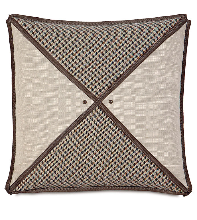 Aiden Houndstooth Insert Decorative Pillow - TAN STRIPED PILLOW,LODGE PILLOW,RUSTIC PILLOW,COUNTRY,MOUNTAIN,LODGE HOME,CLASSIC,TRADITIONAL,TAN,BROWN,IVORY,NEUTRAL,SOUTHWEST,NORTHWEST,RANCH HOME,DIAMOND,NAILHEAD ACCENT,TRIM