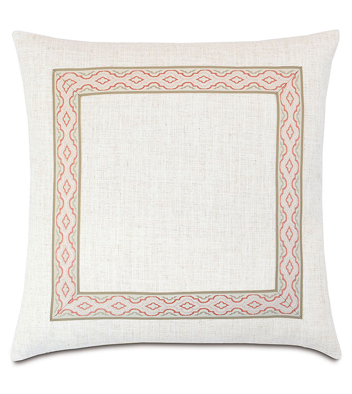 Ledger White With Mitered Border - PILLOW,TOSS CUSHION,THROW PILLOW,SQUARE PILLOW,TRADITIONAL PILLOW,CUSTOM PILLOW,DOUBLE SIDED PILLOW,LINEN PILLOW,ACCENT PILLOW,BORDER PILLOW,HIGH END PILLOW,BED PILLOW