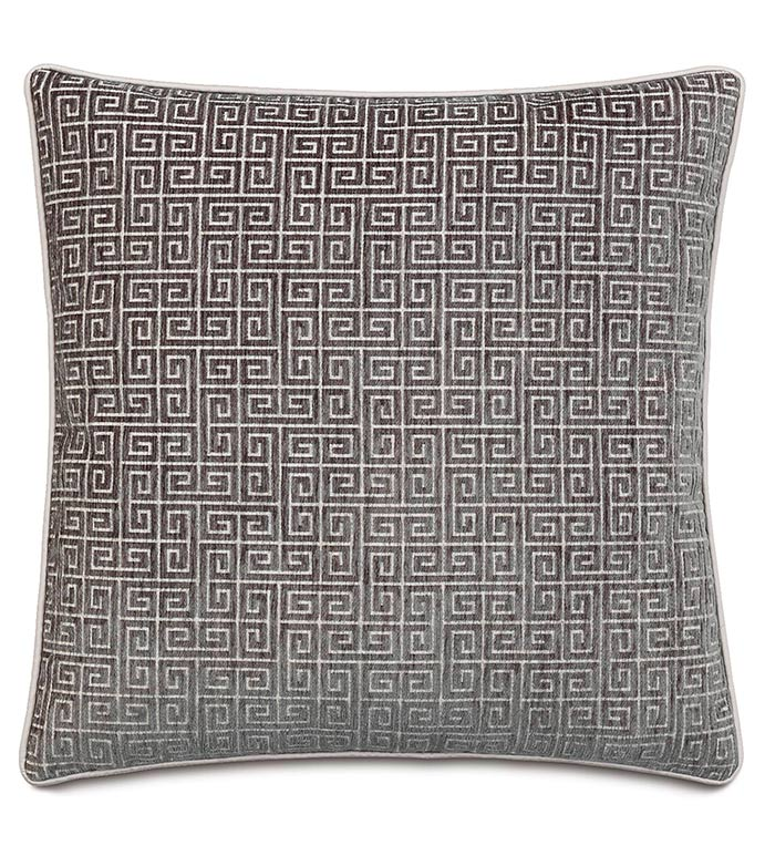 Murano Taupe With Sm Welt - SILVER,TAUPE,GREY,WELT,PILLOW,PATTERN,DESIGN,GLAM,MODERN,ACCENT,METALLIC,BEDROOM,BED,LUXURY BEDDING,INTERIOR DESIGN,DESIGNER,SQUARE,GREEK KEY,GEOMETRIC,CLASSIC,SLATE,EDGING,GRAY