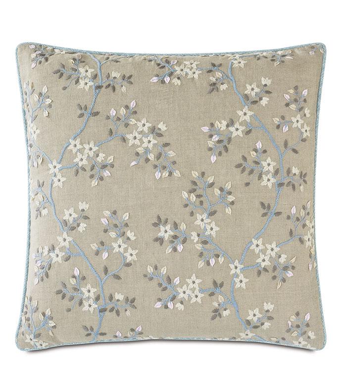 Amberlynn Embroidered Decorative Pillow - ,22X22 PILLOW,EMBROIDERED PILLOW,FLORAL PILLOW,FLORAL EMBROIDERY,VINE EMBROIDERY,FLORAL THROW PILLOW,LUXURY THROW PILLOW,NEUTRAL PILLOW,ROMANTIC EMBROIDERY,ROMANTIC DECOR,