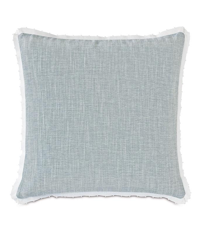Amberlynn Picot Trim Decorative Pillow - ,24X24 PILLOW,LARGE PILLOW,BLUE PILLOW,LUXURY PILLOW,BLUE AND WHITE DECOR,RIBBON,RIBBON PILLOW,PICOT RIBBON,PICOT TRIM,BLUE THROW PILLOW,COASTAL DECOR,COASTAL PILLOW,