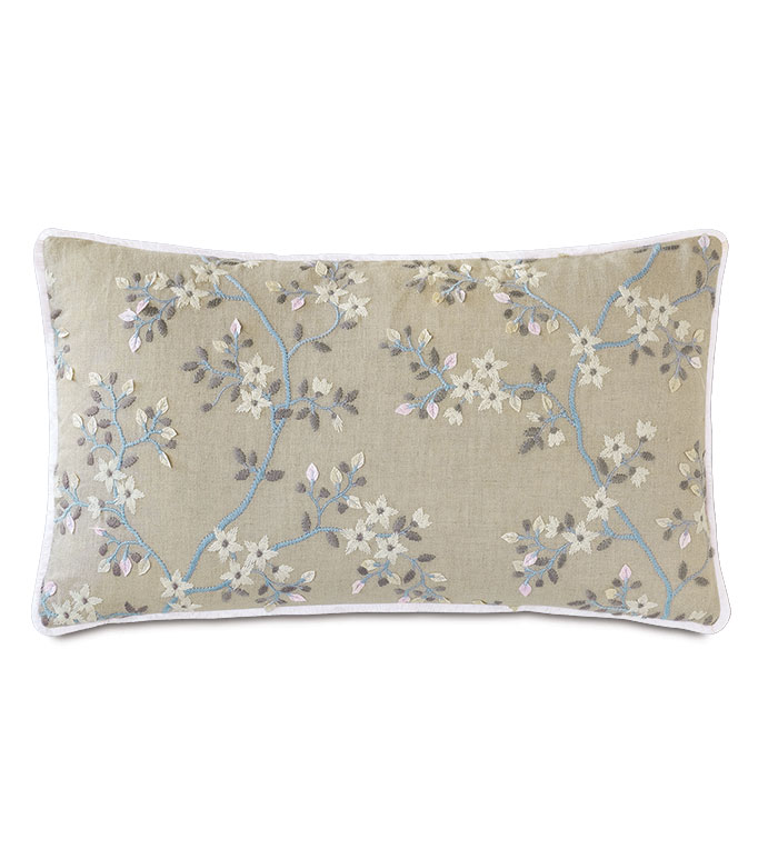 Amberlynn Embroidered Decorative Pillow - ,13x22 pillow,long pillow,floral pillow,floral bolster,embroidered pillow,floral embroidery,vine embroidery,romantic embroidery,romantic decor,neutral pillow,luxury pillow,