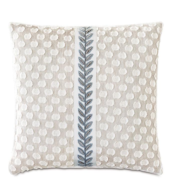 Amberlynn Applique Decorative Pillow - ,20X20 PILLOW,POLKA DOT PILLOW,POLKA DOT EMBROIDERY,EMBROIDERED PILLOW,BEIGE PILLOW,FIL COUPE EMBROIDERY,LEAF EMBROIDERY,SHABBY CHIC DECOR,ROMANTIC DECOR,VELVET EMBROIDERY,
