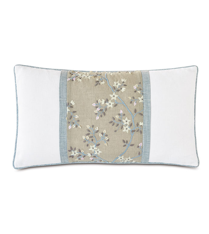 Amberlynn Embroidered Insert Decorative Pillow - ,15x26 pillow,rectangle pillow,white pillow,linen pillow,white linen,floral embroidery,embroidered pillow,floral pillow,floral bolster,colorblock pillow,white and blue pillow,