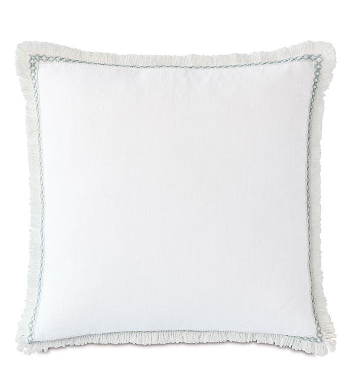 Amberlynn Loop Trim Decorative Pillow - ,WHITE LINEN,100% LINEN PILLOW,CASUAL PILLOW,22X22 PILLOW,WHITE PILLOW,FRINGE PILLOW,EMBROIDERED PILLOW,LINEN DECOR,CASUAL DECOR,LUXURY LINEN,