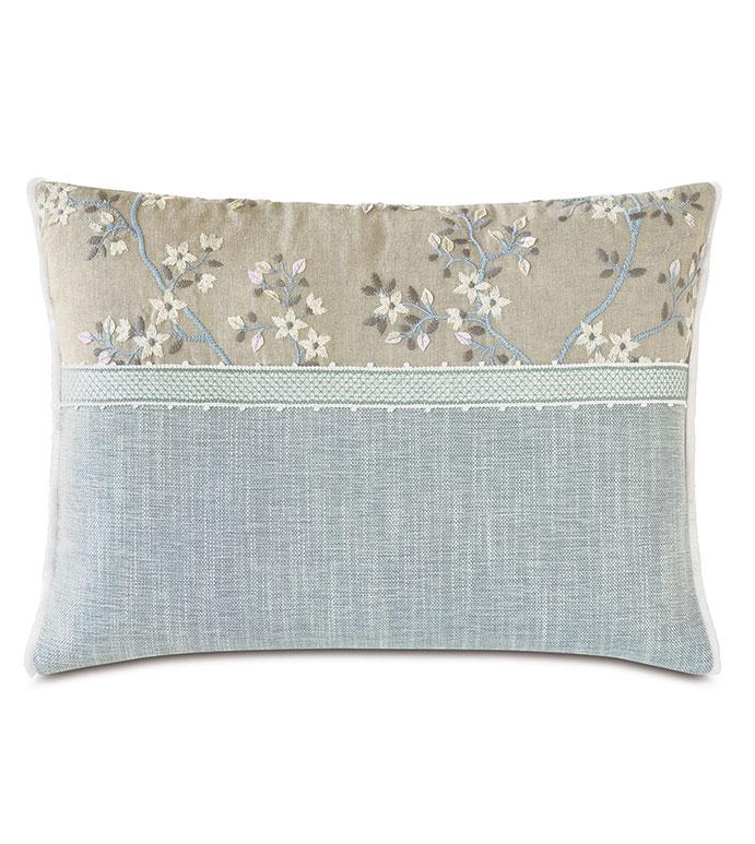 Amberlynn Color Block Decorative Pillow - ,16x22 pillow,colorblock pillow,blue pillow,embroidered pillow,floral pillow,floral embroidery,romantic pillow,shabby chic pillow,floral bolster,luxury pillow,dual tone pillow,