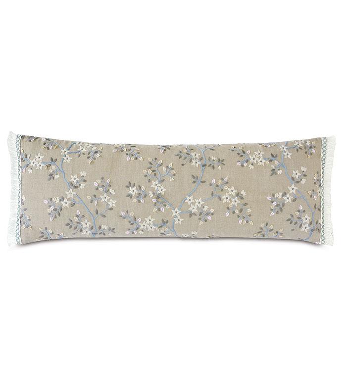 Amberlynn Extra Long Decorative Pillow - ,13x36 pillow,long pillow,oversized pillow,long bolster,floral embroidery,floral pillow,embroidered pillow,floral embroidery,vine embroidery,oblong pillow,floral oblong,