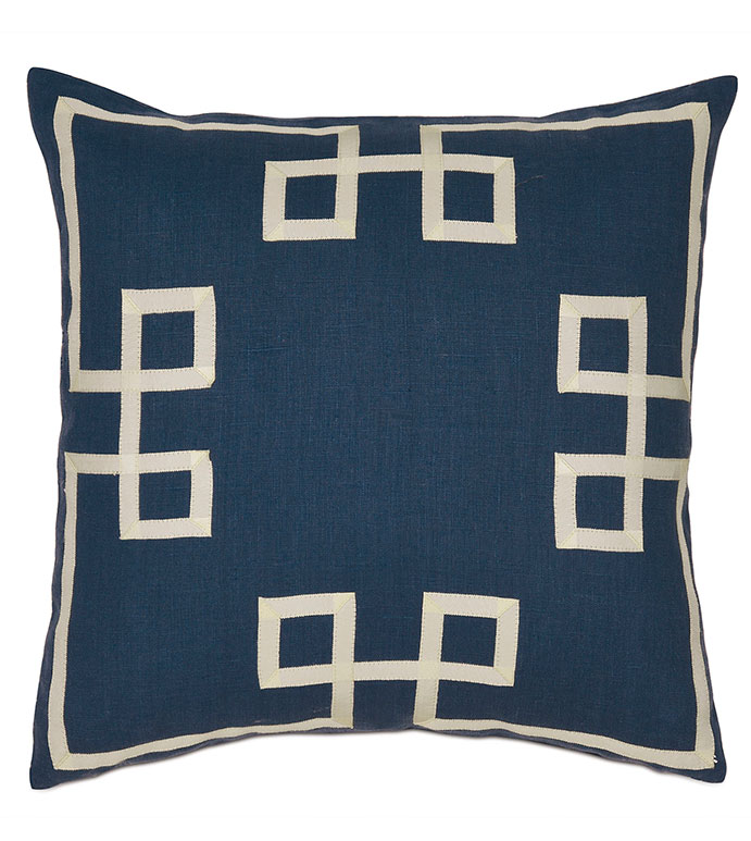 Resort Indigo Fret Accent Pillow - ,