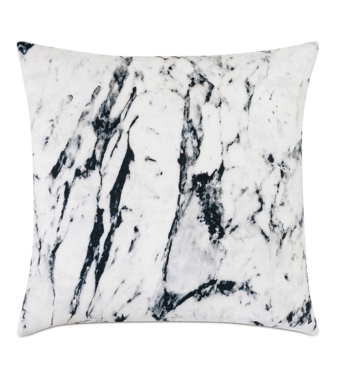 Banks Marble Decorative Pillow - ACCENT PILLOW,THROW PILLOW,EASTERN ACCENTS,MONOCHROME,CONTEMPORARY,100% COTTON,MARBLE,KNIFE EDGE,LUXURY BEDDING,BLACK AND WHITE,MARBLE BEDDING,MARBLE PILLOW,DOUBLE SIDED,TWO SIDED,