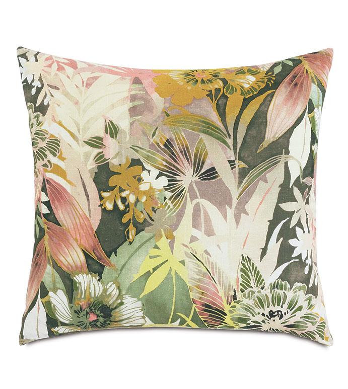 Felicity Floral Decorative Pillow - ,22X22 PILLOW,SQUARE PILLOW,FLORAL PILLOW,BOTANICAL PRINT,FLORAL PRINT,MUSTARD FLORAL PILLOW,DARK FLORAL PRINT,BLUSH FLORAL PRINT,LUXURY THROW PILLOW,DECORATIVE PILLOW,