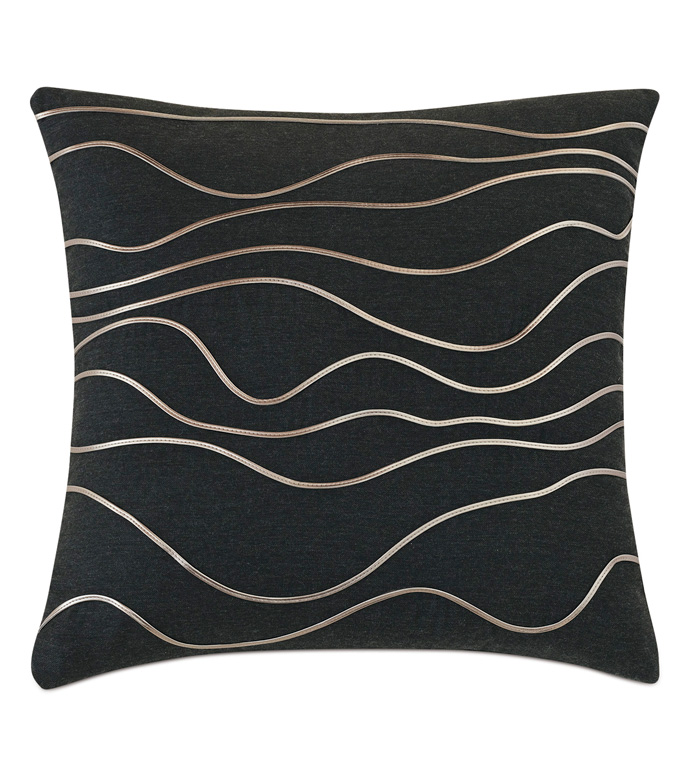Banks Abstract Decorative Pillow In Black - ACCENT PILLOW,THROW PILLOW,EASTERN ACCENTS,BLACK,CONTEMPORARY,APPLIQUE,KNIFE EDGE,ABSTRACT DESIGN,WAVY,WAVY DESIGN,TEXTURED,TEXTURED PILLOW,MODERN,LUXURY BEDDING,LUXURY,WAVY,TRIM,