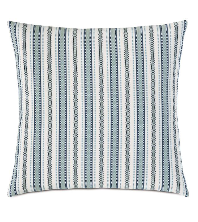 Hugo Stripe Decorative Pillow - BLUE,GREEN,STRIPED,STRIPES,STRIPE,KNIFE EDGE,BOYS,KIDS,CHILDRENS,MODERN,CHIC,22X22,SQUARE,DECORATIVE PILLOW,THROW PILLOW,ACCENT PILLOW