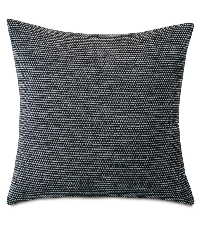 Banks Textured Decorative Pillow - THROW PILLOW,ACCENT PILLOW,EASTERN ACCENTS,MONOCHROME,CONTEMPORARY,TEXTURED,GEOMETRIC,KNIFE EDGE,TESSELLATED,BLACK AND WHITE,LUXURY,CHENILLE,SQUARE,24X24,TEXTURED PILLOW,TRIANGLES,
