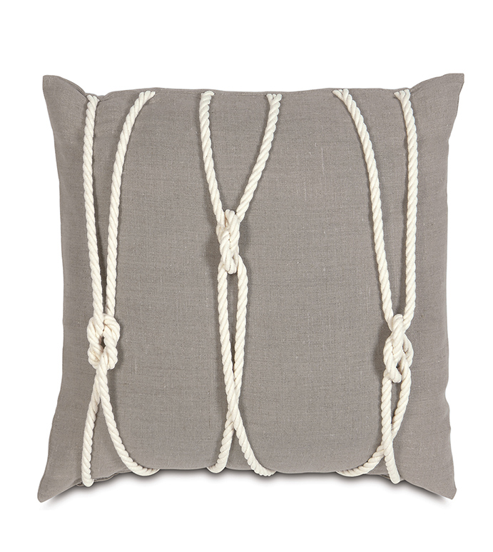 Isle Yacht Knots Decorative Pillow in Neutral - ,YACHT KNOTS,NAUTICAL PILLOW,NAUTICAL DECOR,LINEN PILLOW,NAUTICAL LINEN,KNOT PILLOW,SAIL KNOT,SAILING DECOR,HAMPTONS DECOR,COASTAL DECOR,COASTAL PILLOW,NEUTRAL NAUTICAL,