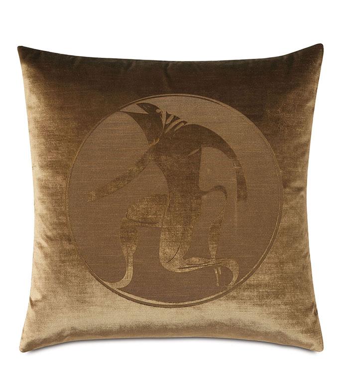 Antiquity Minotaur Decorative Pillow - ,DECORATIVE PILLOW,VELVET PILLOW,VELVET,LUXURY VELVET,ANCIENT GREECE,ANTIQUITY, LUXURY DECOR,BROWN PILLOW,COPPER VELVET,PILLOW,LASER ENGRAVED,GREEK DESIGN,