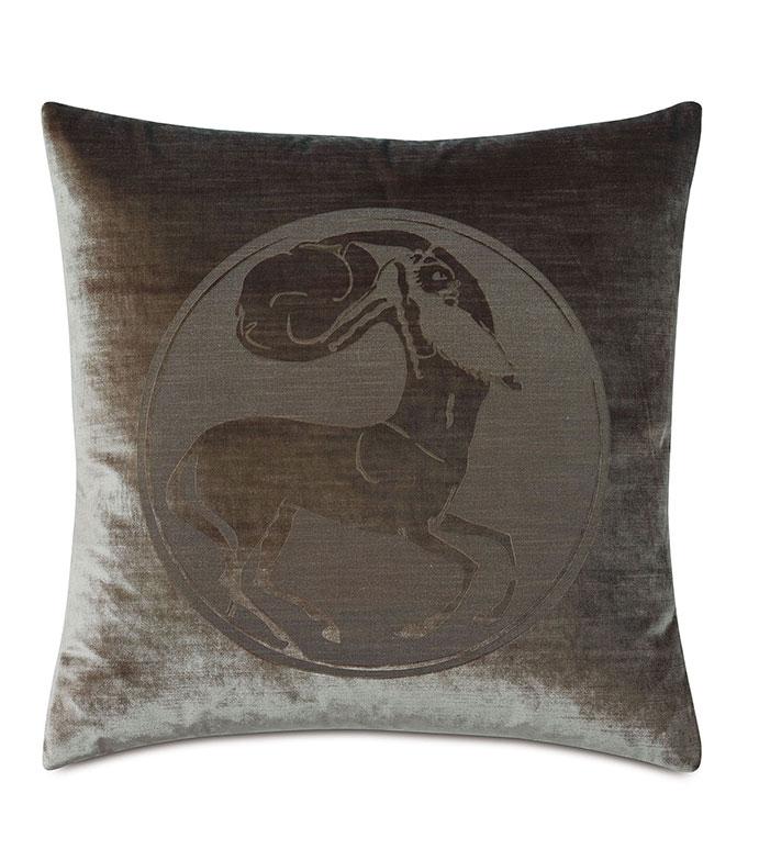 Antiquity Centaur Decorative Pillow - ,DECORATIVE PILLOW,VELVET PILLOW,VELVET,LUXURY VELVET,ANCIENT GREECE,ANTIQUITY,CLASSIC DECOR,LUXURY DECOR,GREEN PILLOW,GREEN VELVET, PILLOW,LASER ENGRAVED,