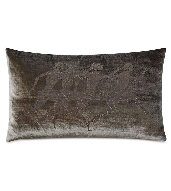 Antiquity Athletes Decorative Pillow - ,DECORATIVE PILLOW,VELVET PILLOW,VELVET,LUXURY VELVET,ANCIENT GREECE,ANTIQUITY,CLASSIC DECOR,LUXURY DECOR,GREEN PILLOW,GREEN VELVET,PILLOW,LASER ENGRAVED,OLIVE GREEN,