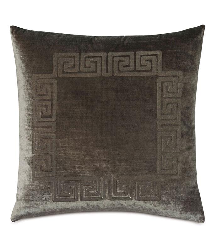 Antiquity Greek Key Decorative Pillow in Oregano - ,DECORATIVE PILLOW,VELVET PILLOW,VELVET,LUXURY VELVET,ANCIENT GREECE,ANTIQUITY,GREEK KEY,LUXURY DECOR,GREEN PILLOW,GREEN VELVET, PILLOW,LASER ENGRAVED,
