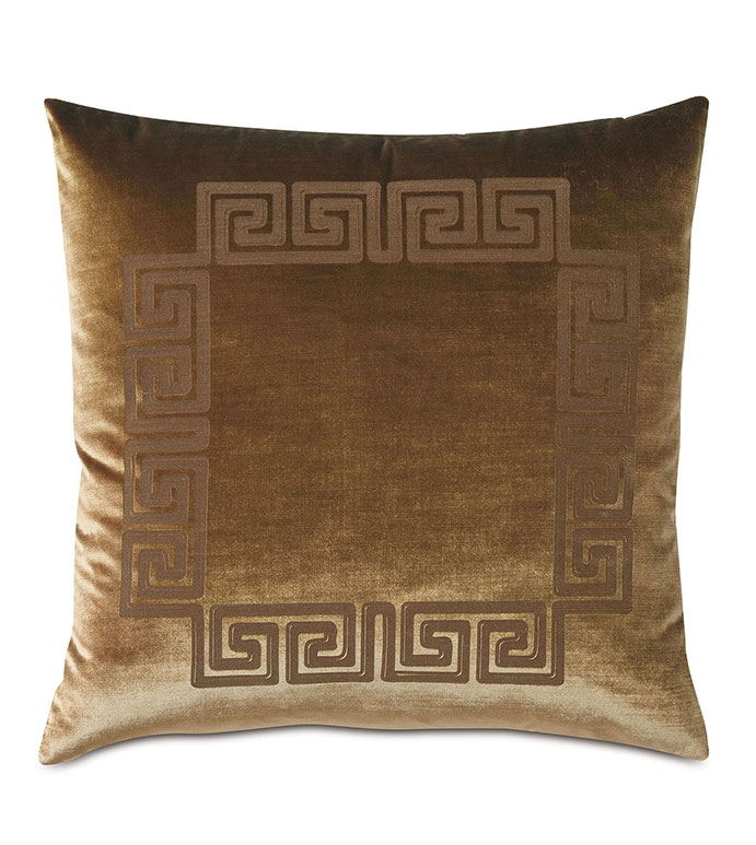 Antiquity Greek Key Decorative Pillow in Coin - ,DECORATIVE PILLOW,VELVET PILLOW,VELVET,LUXURY VELVET,ANCIENT GREECE,ANTIQUITY,GREEK KEY,LUXURY DECOR,GREEN PILLOW,GREEN VELVET,PILLOW,LASER ENGRAVED,