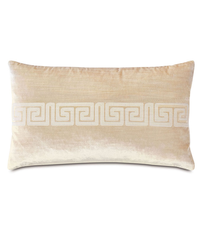Antiquity Greek Key Decorative Pillow in Cream - ,DECORATIVE PILLOW,VELVET PILLOW,VELVET,LUXURY VELVET,ANCIENT GREECE,ANTIQUITY,GREEK KEY,LUXURY DECOR,IVORY VELVET,PILLOW,LASER ENGRAVED,
