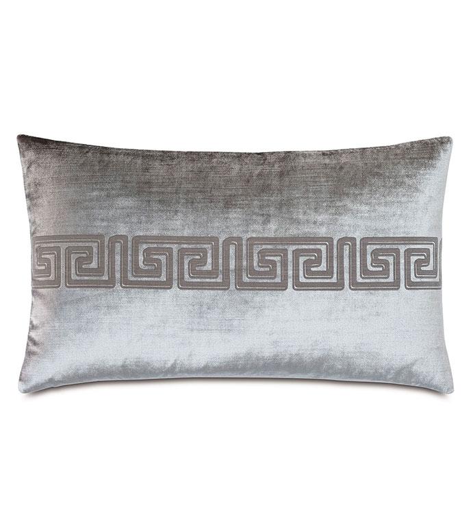 Antiquity Greek Key Decorative Pillow in Dove - ,DECORATIVE PILLOW,VELVET PILLOW,VELVET,LUXURY VELVET,ANCIENT GREECE,ANTIQUITY,GREEK KEY,LUXURY DECOR,GREY VELVET,PILLOW,LASER ENGRAVED,