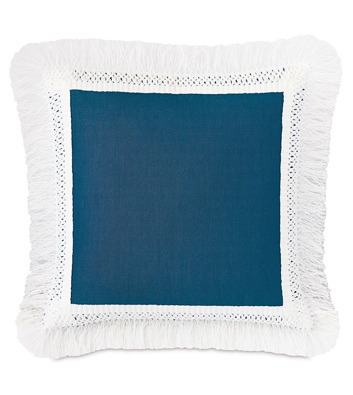 Palermo Fringe Decorative Pillow in Lagoon - ,20X20 PILLOW,SQUARE PILLOW,MEDIUM PILLOW,BLUE PILLOW,FRINGE TRIM,FRINGE PILLOW,MITERED BORDER,OUTDOOR PILLOW,OUTDOOR DECOR,WATER-RESISTANT PILLOW,BLUE THROW PILLOW,
